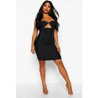 Womens Boutique Contouring Lace Up Front Eyelet Bandage Mini Dress - black - 10, Black