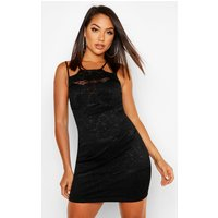 Womens All Over Lace High Neck Bodycon Dress - black - 8, Black