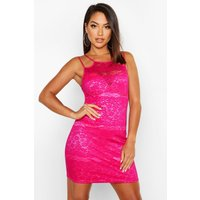 Womens All Over Lace High Neck Bodycon Dress - Pink - 10, Pink