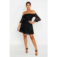 Womens All Over Crochet Skater Dress - black - 10, Black