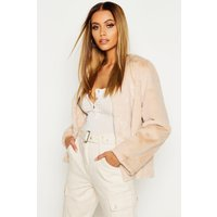 Womens Collarless Faux Fur Coat - cream - 10, Cream