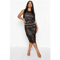 Womens All Over Crochet Lace Midi Dress - black - 10, Black