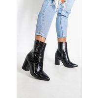 Womens Wide Fit Croc Block Heel Sock Boots - Black - 5, Black