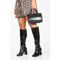 Womens Extra Wide Fit Knee High Boots - Black - 3, Black
