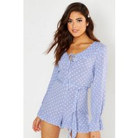 Womens Polka Dot Ruffle Playsuit - blue - 12, Blue