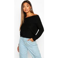 Womens Bardot Rib Knit Jumper - black - M, Black