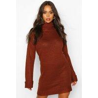 Womens Roll Neck Wide Sleeve Jumper Dress - brown - XS, Brown