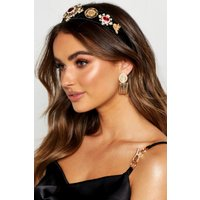 Womens Premium Jewel Embellished Headband - black - One Size, Black