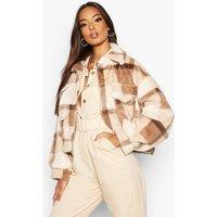 Womens Check Faux Fur Trucker Jacket - Brown - 8, Brown
