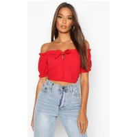 Womens Bandage Peasant Crop Top - red - 6, Red