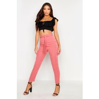 Womens Tie Waist Linen Look Slim fit Trousers - pink - 14, Pink