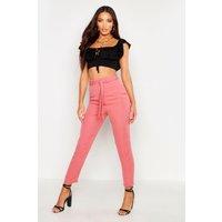 Womens Tie Waist Linen Look Slim fit Trousers - pink - 12, Pink