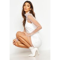 Womens Dobby Mesh High Neck Sheer Dress - white - L, White