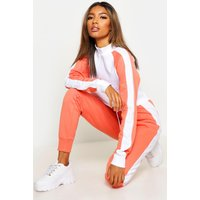 Womens Colour Block Zip Detail Tracksuit - orange - 14, Orange
