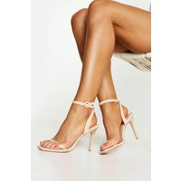 Womens Clear Strap 2 Part Stiletto Heels - Beige - 8, Beige