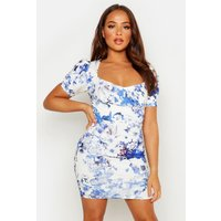 Womens Floral Cupped Hook & Eye Bodycon Mini Dress - blue - 8, Blue