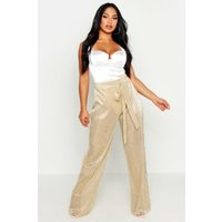 Womens Metallic Pleated Plisse Tie Waist Trousers - metallics - 8, Metallics