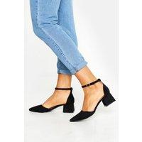 Womens Pointed Toe Low Block Heel Ballets - black - 7, Black