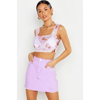 Womens Denim Frayed Hem Mini Skirt - purple - 12, Purple