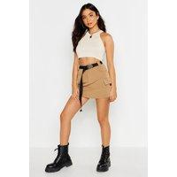 Womens Micro Cargo Belted Mini Skirt - beige - 14, Beige