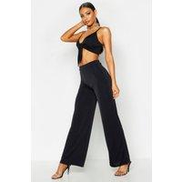 Womens Wide Leg Slinky Trousers - black - 14, Black