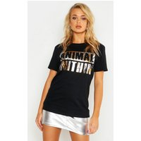 Womens Unisex Bronze Leopard Foil Animal Within Tee - black - S, Black
