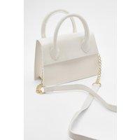 Womens Mini Croc Structured Cross Body Bag - white - One Size, White