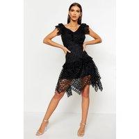 Womens All Over Crochet Skater Midi Dress - black - L, Black