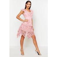 Womens All Over Crochet Skater Midi Dress - pink - L, Pink
