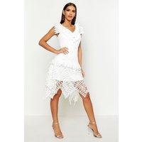 Womens All Over Crochet Skater Midi Dress - white - M, White