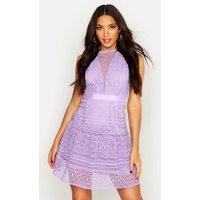 Womens All Over Crochet Dress - purple - L, Purple