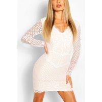 Womens All Over Lace Bodycon Midi Dress - White - L, White