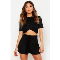 Womens Twist Front Rib Top & Belted Shorts Co-Ord - black - 8, Black
