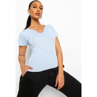 Womens Basic Rib Notch Front T-Shirt - blue - 6, Blue