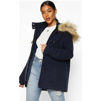 Womens Faux Fur Wool Look Duffle Coat - navy - 8, Navy