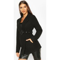Womens Belted Wool Look Blazer Coat - black - 10, Black