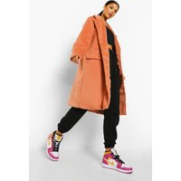 Womens Brushed Wool Look Double Breasted Coat - Pink - 10, Pink