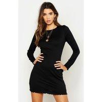 Womens Rib Lettuce Hem Bodycon Dress - black - 12, Black