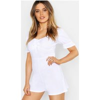 Womens Rouched Sleeve Bust Detail Playsuit - white - 14, White