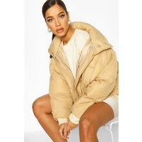 Womens Oversized Funnel Neck Puffer - beige - 12, Beige