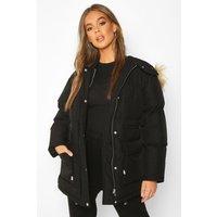 Womens Drawcord Waist Faux Fur Hooded Puffer - black - 8, Black