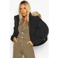 Womens Faux Fur Trim Hood Crop Puffer - black - 16, Black