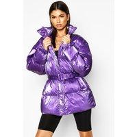 Womens Pearlescent Belted Puffer Jacket - purple - 8, Purple