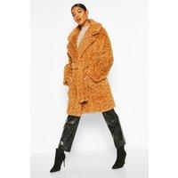 Womens Textured Faux Fur Belted Coat - beige - 14, Beige
