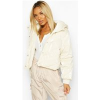 Womens Pearlescent Cropped Hooded Puffer - white - 12, White