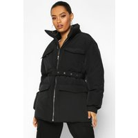 Womens Double Pocket Belted Utility Puffer - black - 10, Black