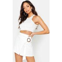 Womens Linen Look O Ring Skort - white - 12, White