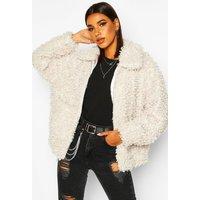 Womens Premium Teddy Faux Fur Oversized Jacket - white - 8, White