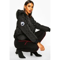 Womens Hooded Quilted Puffer - black - 12, Black