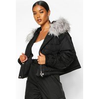 Womens Crop Ruched Sleeve Faux Fur Trim Puffer - black - 14, Black